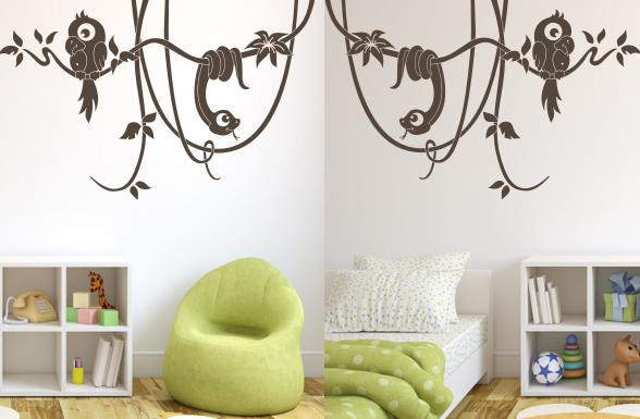 wandtattoo lianen mit papagei und schlange wandtattoo dschungel kinderzimmer ebay. Black Bedroom Furniture Sets. Home Design Ideas