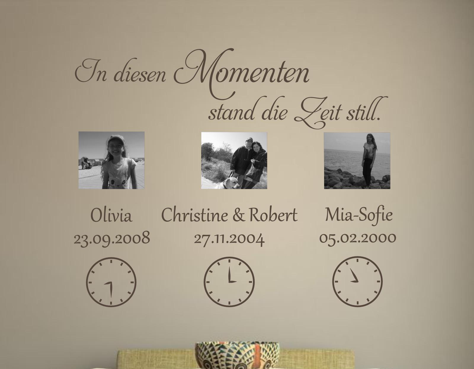 Dekortattoo.de - Wandtattoo In diesen Momenten...(mit Uhrzeit)