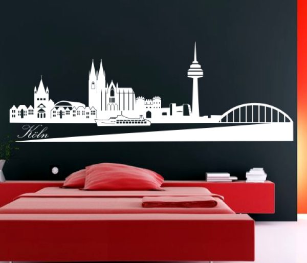 wandtattoo k ln skyline. Black Bedroom Furniture Sets. Home Design Ideas