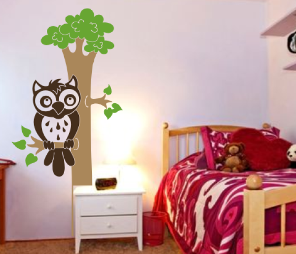 3 farben wandtattoo eule auf dem baum. Black Bedroom Furniture Sets. Home Design Ideas