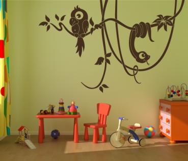 Wandtattoos wandspr che wanddeko 3 farben wandtattoo lianen mit papagei und - Wandtattoo papagei ...