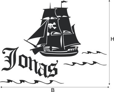 Wandtattoos wandspr che wanddeko for Wandtattoo piratenschiff