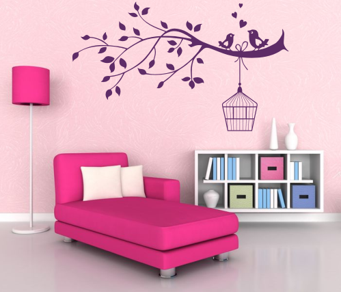 wandtattoos wandspr che wanddeko wandtattoo ast mit dem vogelk fig. Black Bedroom Furniture Sets. Home Design Ideas