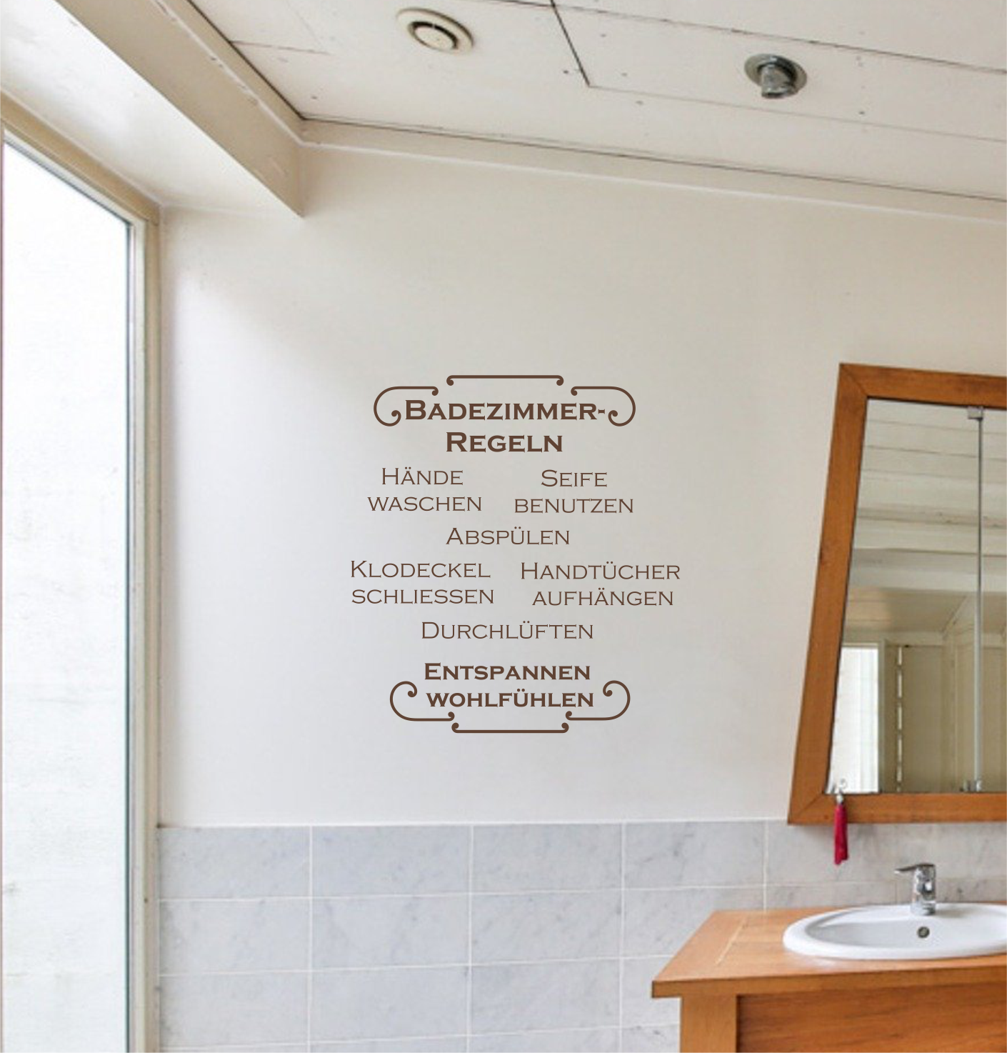 "Wandtattoo ""Badezimmer-regeln""."