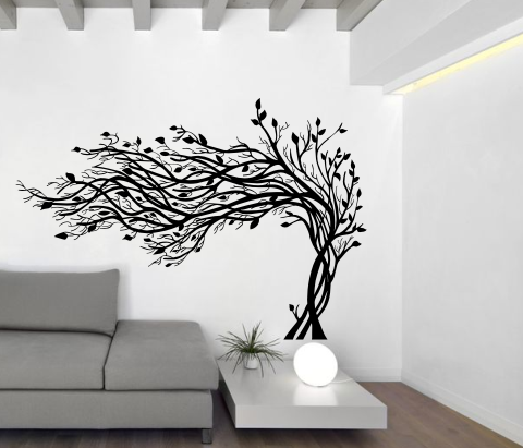 wandtattoos wandspr che wanddeko wandtattoo baum im wind 3. Black Bedroom Furniture Sets. Home Design Ideas