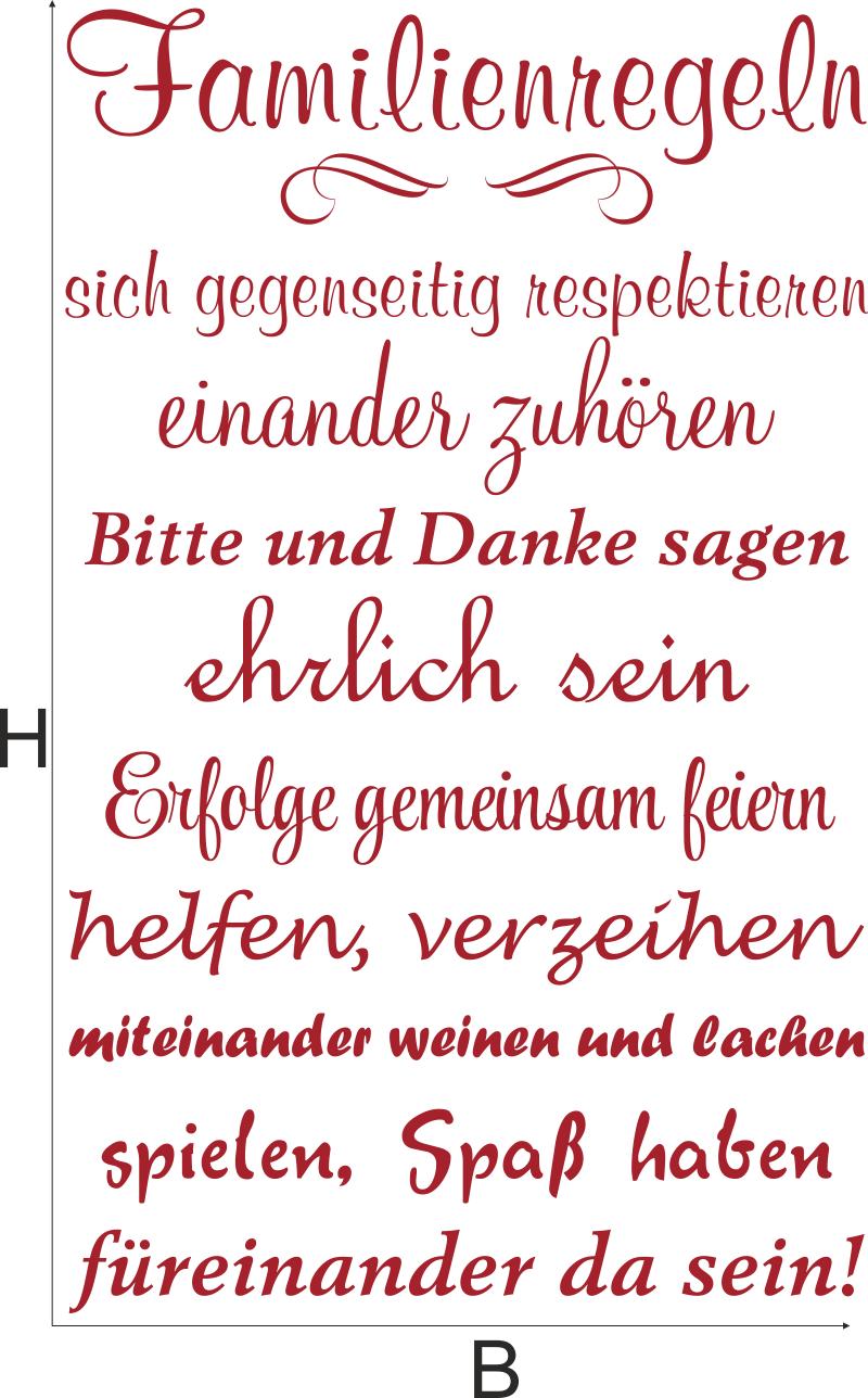 Wandtattoo Familienregeln Design 2