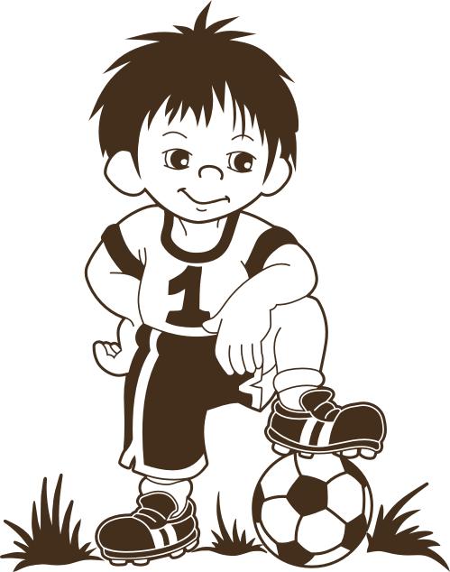 Wandtattoo Fussballer Comic Figur