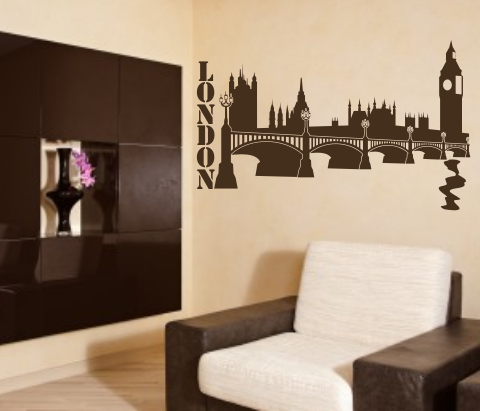 wandtattoos wandspr che wanddeko wandtattoo london westminster palace skyline. Black Bedroom Furniture Sets. Home Design Ideas