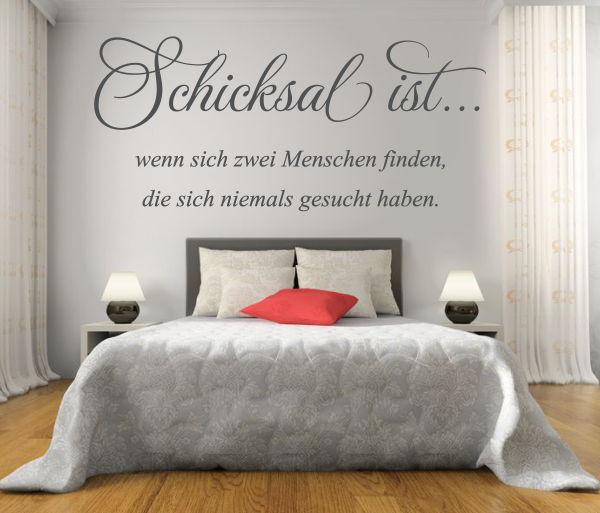 wandtattoos wandspr che wanddeko wandtattoo schicksal ist. Black Bedroom Furniture Sets. Home Design Ideas
