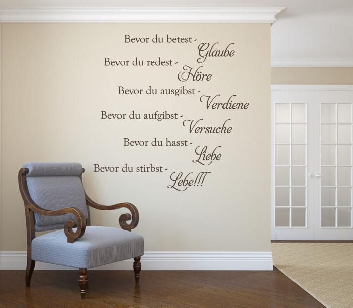 wandtattoos wandspr che wanddeko wandspruch die sechs goldenen regeln des. Black Bedroom Furniture Sets. Home Design Ideas