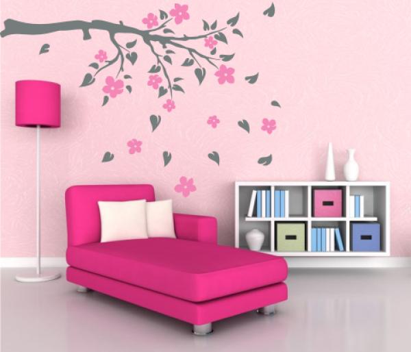 wandtattoos wandspr che wanddeko 2 farben wandtattoo ast mit fallenden bl ttern. Black Bedroom Furniture Sets. Home Design Ideas