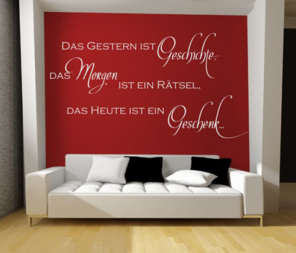 wandtattoos wandspr che wanddeko wandspruch das gestern ist geschichte. Black Bedroom Furniture Sets. Home Design Ideas