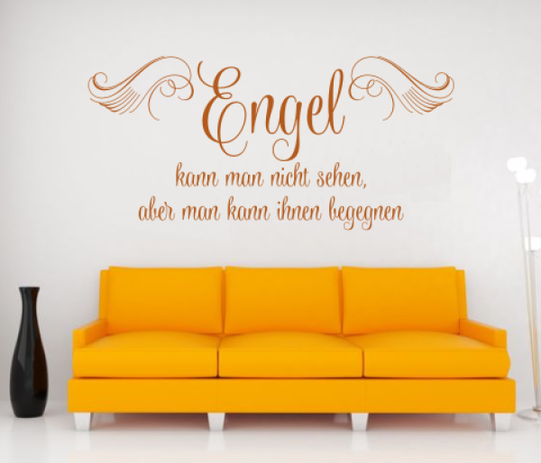 wandtattoos wandspr che wanddeko wandspruch engel kann man nicht sehen. Black Bedroom Furniture Sets. Home Design Ideas