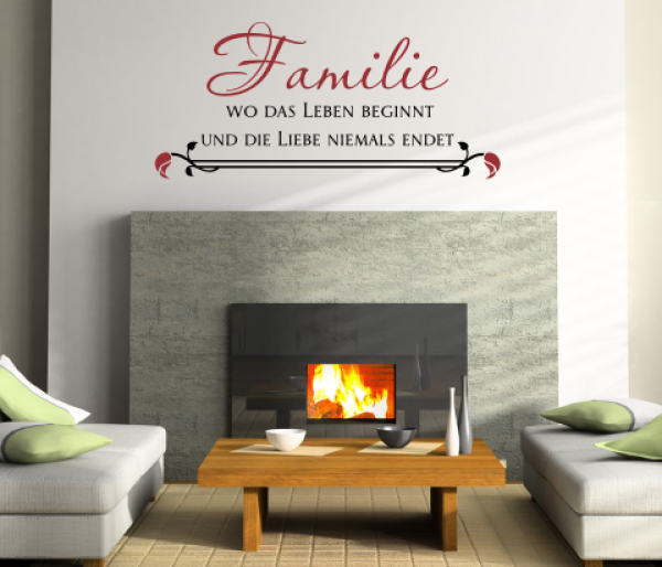 wandtattoos wandspr che wanddeko 2 farben wandspruch familie. Black Bedroom Furniture Sets. Home Design Ideas