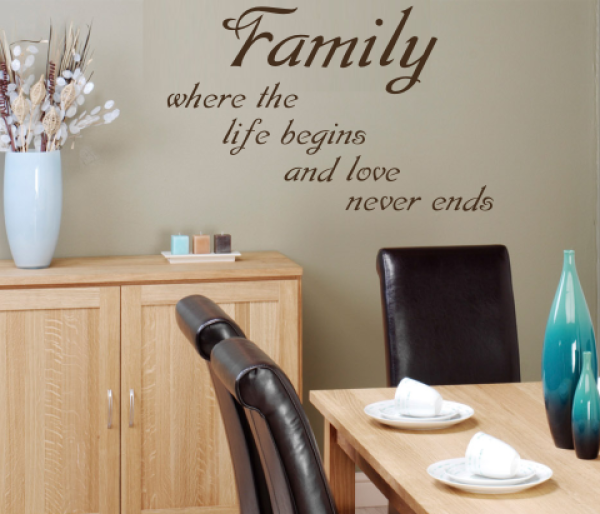 wandtattoos wandspr che wanddeko wandspruch family where the life begins. Black Bedroom Furniture Sets. Home Design Ideas