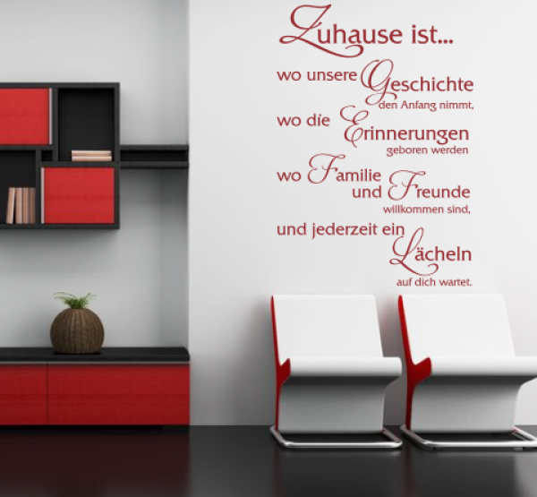 wandtattoos wandspr che wanddeko wandspruch zuhause ist. Black Bedroom Furniture Sets. Home Design Ideas